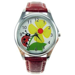Ladybug Dial Watch Red Faux Leather Band